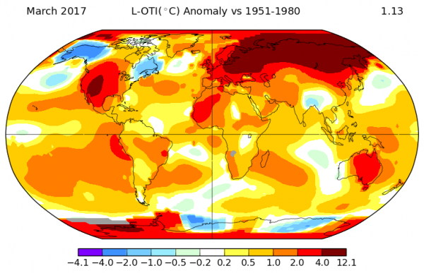 March 2017 temperature anomoly global map
