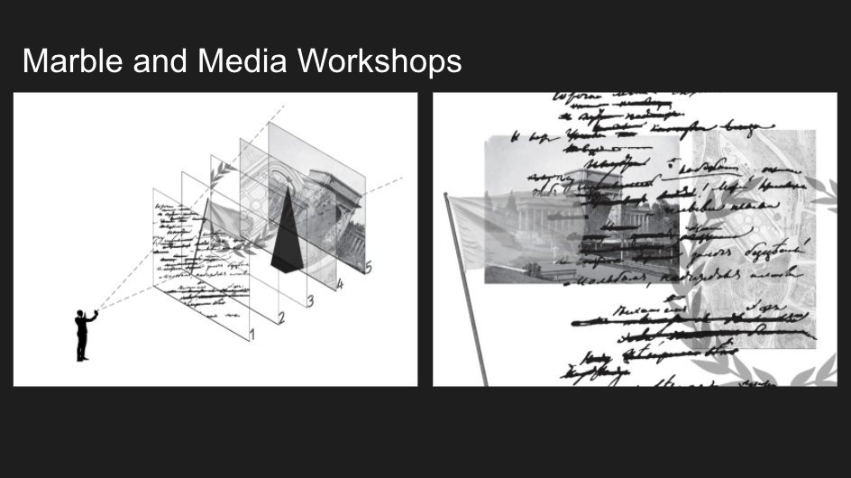 "Screenshot of a slide titled ""Marble and Media Workshop"" with an image of a figure pointing their phone at 5 layers of images, and another view of that same image from head-on so one can see the superimposed layers."