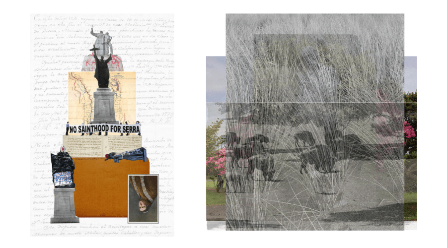 Collage work featuring Junipero Serra (left) and native flora and bison (right).