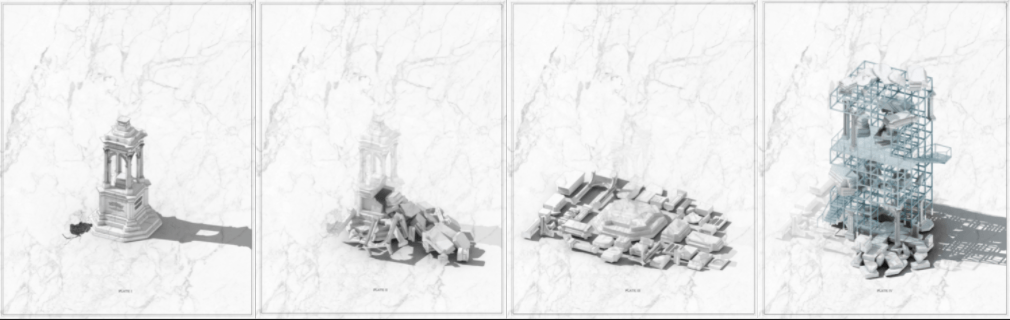 "Sketches from Caleb Lightfoot's AR artwork, ""Schema for a Post-Historical Monument"""