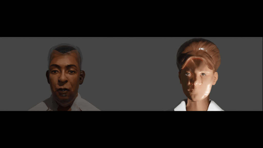 Screenshot of a video. There is a man and woman side-by-side from the shoulders up. Their faces have a ceramic, haunting quality.