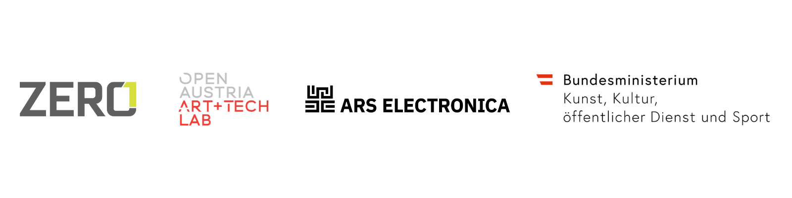 Impact Art AT project partner logos: ZERO1, Open Austria Art + Tech Lab, Ars Electronica, Austrian Federal Ministry for Arts, Culture, the Civil Service and Sport