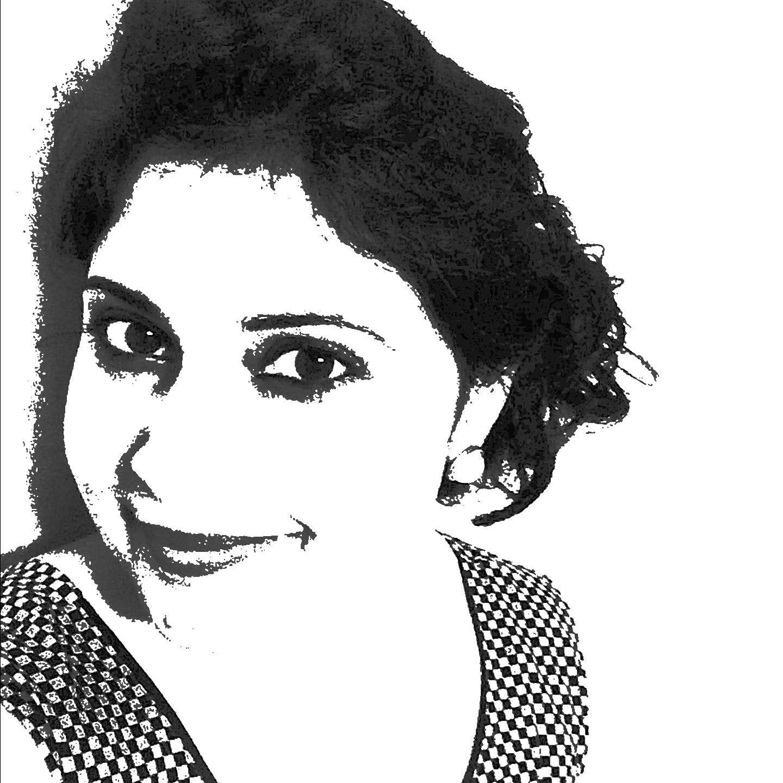 Black and white stylized headshot of Parul Wadhwa